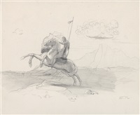 horse and rider with lance by odilon redon