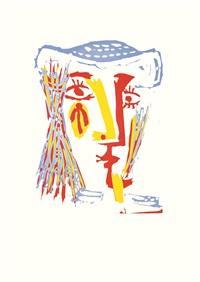 femme au chapeau de paille bleue by pablo picasso