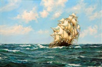 the clipper nicoya under full sail by montague dawson
