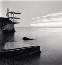 diving boards and cruise ship, nice, alpes-maritimes, france, 1997 by michael kenna