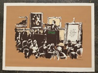 morons (sepia, signed) by banksy
