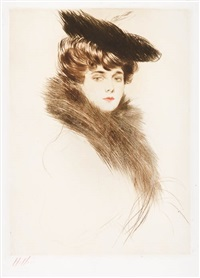 portrait de madame chéruit au colle de fourrure by paul césar helleu