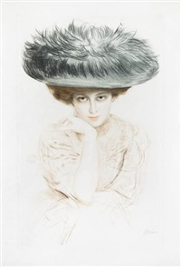 femme au grand chapeau bleu by paul césar helleu