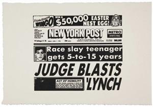 new york post (judge blasts lynch) (f/s cat. #iiia.46) by andy warhol