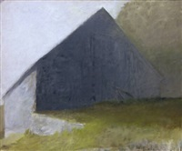 barn in a white light by wolf kahn