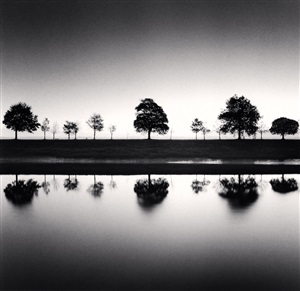 reflecting trees, saint valery sur somme, france, 2009 by michael kenna