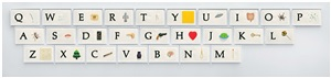 a b c art (low relief): (keyboard) by john baldessari