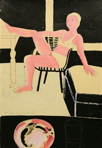 model with foot on table by joan brown