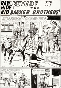 rawhide kid beware of the barker brothers title page 1 original art (marvel, 1961) by jack kirby and dick ayers