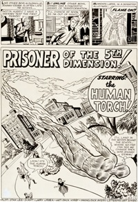 strange tales #103 human torch prisoner of the 5th dimension title page 1 original art (marvel, 1962) by jack kirby and dick ayers