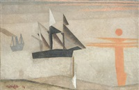 ships and red sun by lyonel feininger