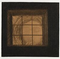 a face at a window (visage derrière une fenêtre) by odilon redon