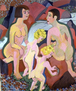 bathing women and children by ernst ludwig kirchner