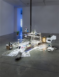 installation view, still life with desk, 2013-2015, victoria miro wharf road by sarah sze