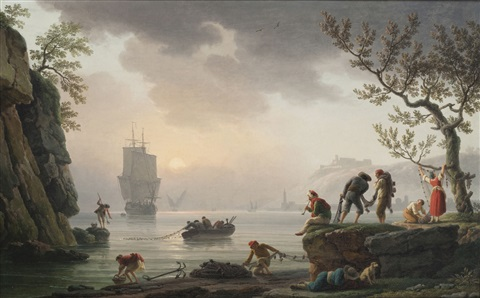 figures raising their nets in the rising sun by claude joseph vernet