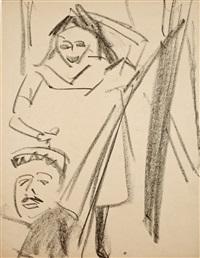 stehende fränzi und mann in hängematte by ernst ludwig kirchner