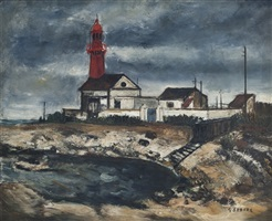 lighthouse under stormy sky by gaston sébire