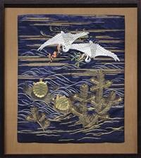 cranes and golden tortoise by japanese school- meiji