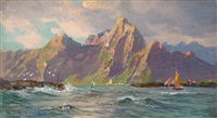 view of loften islands, norway by william trost richards