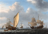 a states yacht from the admiralty of amsterdam before a moderate breeze meeting a dutch two-decker by willem van de velde the younger