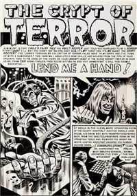 the vault of horror #18 lend me a hand original art complete 7-page story (ec, 1951) by jack davis