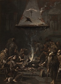 friars around the fire by alessandro magnasco