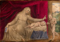 the virgin hushing the young john the baptist by william blake