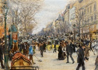 on the ´grand boulevard´, paris by jean françois raffaëlli