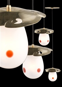 set of four hanging lamps by gustave serrurier-bovy
