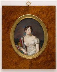 pair of large portrait miniatures, pendant representing mrs. spontini by jean urbain guerin