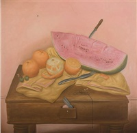 still life with watermelon and oranges by fernando botero