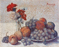 still life with flowers and fruits by achille laugé