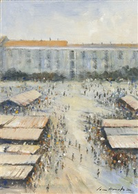 (26) the crowded market at nice by ian houston