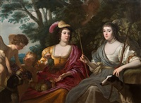 portrait of amalia van solms, princess of orange (1602-1675) and charlotte de la trémouille, later countess of derby (1599-1664) as diana and a nymph by gerrit van honthorst