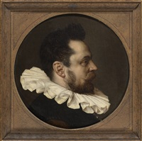 portrait of a gentleman, bust-length, in a white ruff by haarlem school
