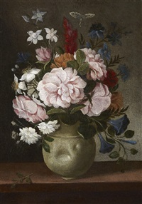 white ceramic vessel with roses, campanulas and other flowers and a butterfly on a wooden table by pedro de camprobin