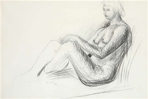 seated nude by henry moore
