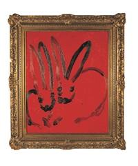 black bunnies on red by hunt slonem