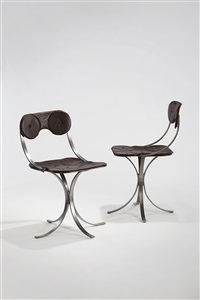 pair of grains de café chairs by claude lalanne