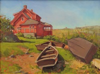 red house with skiffs by alison hill