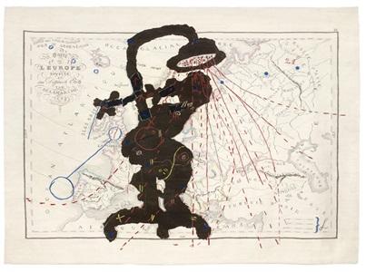 carte de leurope shower woman by william kentridge