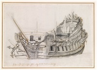portrait of a dutch frigate, viewed from close on the port bow by willem van de velde the younger