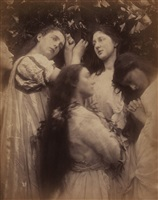 """mary hiller and four other women (""""have we not heard the bridegroom is so sweet!"""") by julia margaret cameron"""