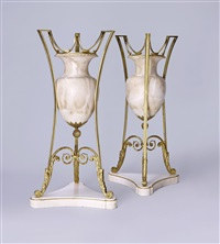 a pair of 'night-lamps' with a candleholder inside by karl friedrich schinkel