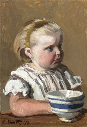 l'enfant a la tasse portrait de jean monet by claude monet