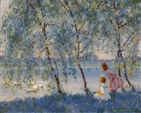 girls and ducks on the water by edward dufner