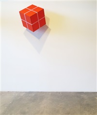cube suspended from a point (red orange) by william metcalf