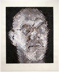 self-portrait woodcut by chuck close