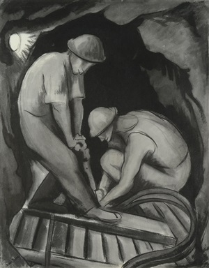 miners in guererro (mineros en guererro) by diego rivera