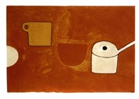 cup, bowl, pan, browns and ochres by william scott